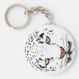 Snow Leopard Basic Round Button Key Ring