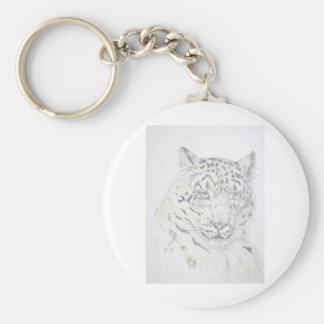 Snow Leopard Basic Round Button Key Ring