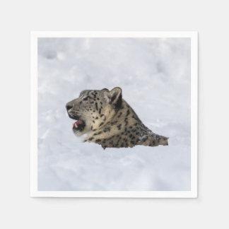 Snow Leopard Buried in Snow Paper Napkin