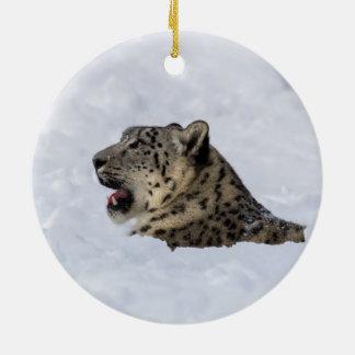 Snow Leopard Buried in Snow Round Ceramic Decoration
