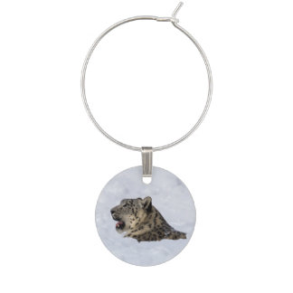 Snow Leopard Buried in Snow Wine Charms