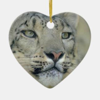 snow leopard ceramic heart decoration