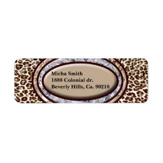 Snow Leopard Champagne Diamond Monogram Return Address Label