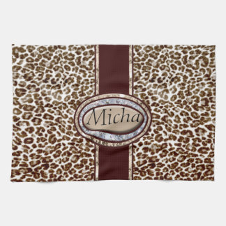 Snow Leopard Champagne Diamond Monogram Hand Towel