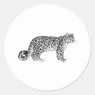 Snow Leopard Classic Round Sticker