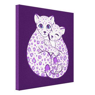 Snow Leopard Cubs Cuddling Art Stretched Canvas Print