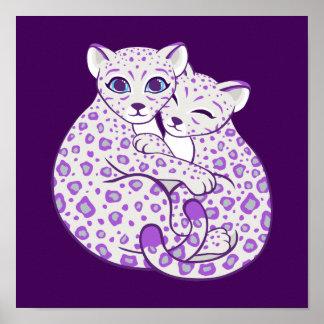 Snow Leopard Cubs Cuddling Art Poster