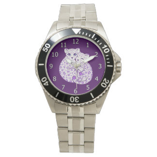 Snow Leopard Cubs Cuddling Art Wristwatches