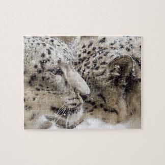 Snow Leopard Cuddle Jigsaw Puzzle