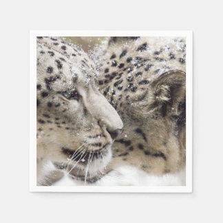 Snow Leopard Cuddle Paper Napkin
