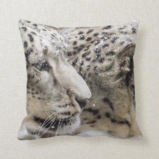 Snow Leopard Cuddle Throw Pillow