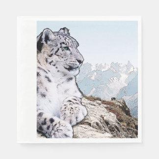Snow Leopard Disposable Serviettes