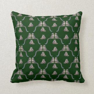 Snow Leopard Frenzy Pillow (Dark Green)