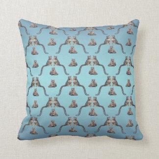 Snow Leopard Frenzy Pillow (Sky Blue Mix)