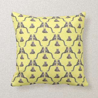 Snow Leopard Frenzy Pillow (Yellow)