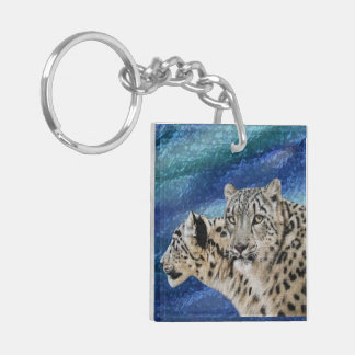 Snow Leopard Habitat Double-Sided Square Acrylic Key Ring