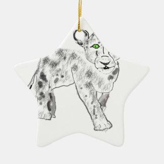 Snow Leopard Illustration Ceramic Star Decoration