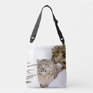 Snow Leopard in the Snow Crossbody Bag