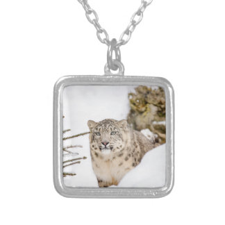 Snow Leopard in the Snow Silver Plated Necklace