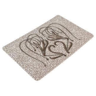 Snow Leopard Lily Floor Mat