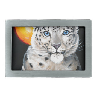Snow Leopard Moon Belt Buckle