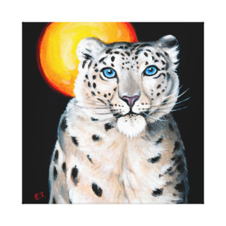 Snow Leopard Moon Canvas Print