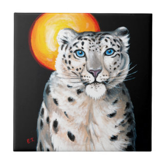Snow Leopard Moon Ceramic Tile