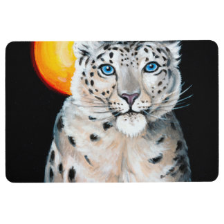 Snow Leopard Moon Floor Mat