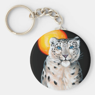 Snow Leopard Moon Key Ring