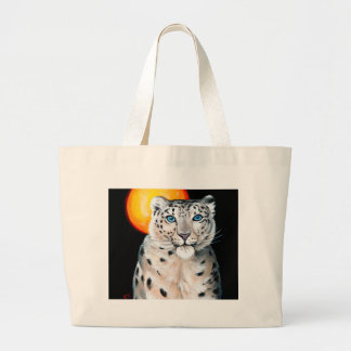 Snow Leopard Moon Large Tote Bag
