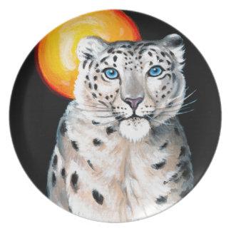 Snow Leopard Moon Plate