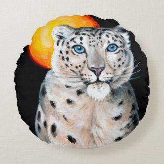 Snow Leopard Moon Round Cushion