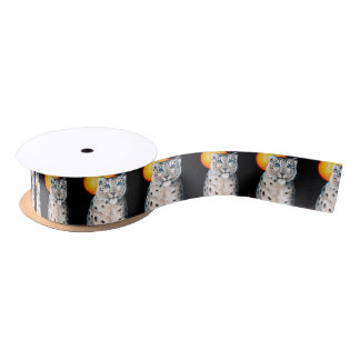 Snow Leopard Moon Satin Ribbon