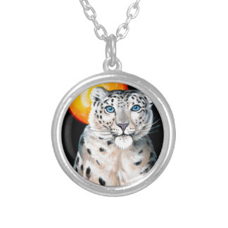 Snow Leopard Moon Silver Plated Necklace