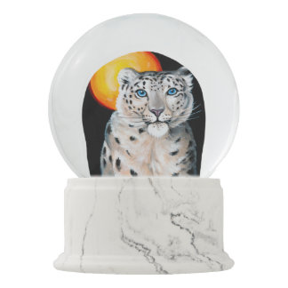 Snow Leopard Moon Snow Globes