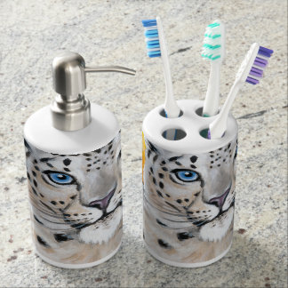 Snow Leopard Moon Soap Dispenser And Toothbrush Holder