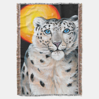 Snow Leopard Moon Throw Blanket