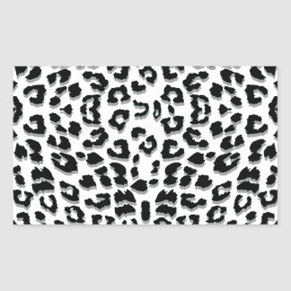 Snow Leopard Print Custom Rectangular Sticker