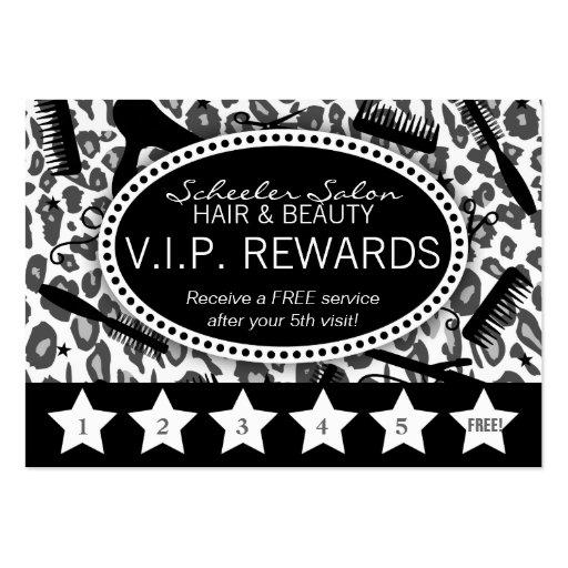 Snow Leopard Print Salon Loyalty Rewards Card Business Card