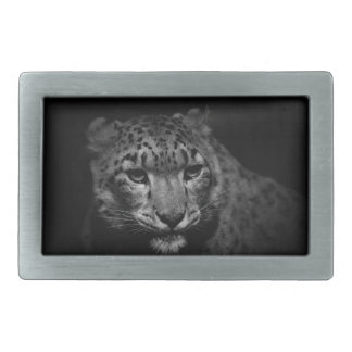snow-leopard rectangular belt buckle