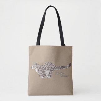 Snow Leopard Running All-Over-Print Tote Bag