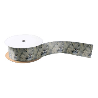 snow leopard satin ribbon