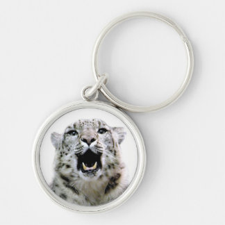 Snow Leopard Silver-Colored Round Key Ring