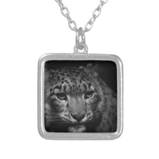 snow-leopard silver plated necklace