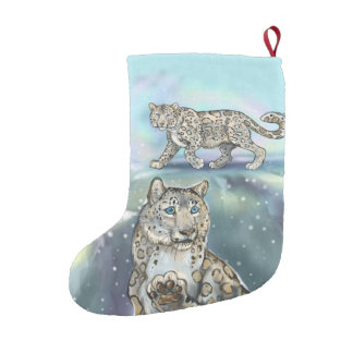 Snow Leopard Small Christmas Stocking
