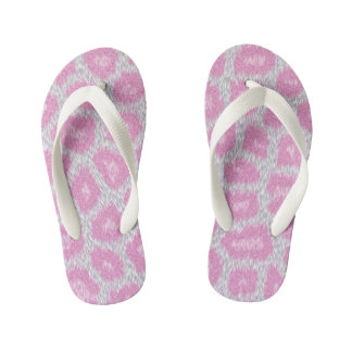 Snow Leopard style - Silver Pink Kid's Thongs