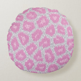 Snow Leopard style - Silver Pink Round Cushion