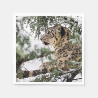 Snow Leopard Under Snowy Bush Disposable Napkin