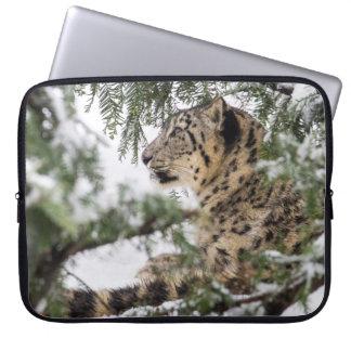 Snow Leopard Under Snowy Bush Laptop Sleeve