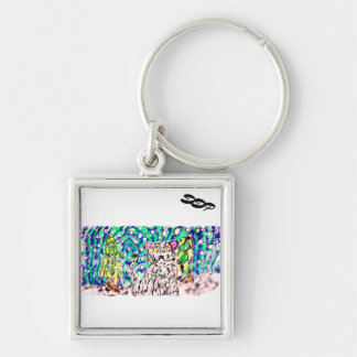 Snow Leopard winter art Key Ring